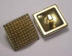 """Button 3/4"""" (19mm) Gold Square Bubble Textured Head - Per Piece"""
