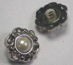 "Button 1 1/16"" (17.4mm) Silver with Faux Pearl  Center - Per Piece"