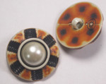 "Button 1"" (25mm)  Fancy with Pearl  Center  - Per Piece"