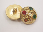 "Button 13/16"" (20.6mm)  Gold with Color Infils  - Per Piece"