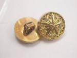 """Button 5/8"""" (15.8mm) Gold Fancy Star Center  - Per Piece"""