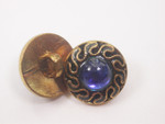 "Button 5/8"" (15.8mm) Gold Royal Blue Center  - Per Piece"