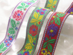 "Jacquard Ribbon 1 5/16"" (33mm) Floral *Colors* Per Yard"