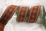 "Jacquard Ribbon 1 3/4"" (44mm) Deep Red with Metallic ""snowflakes"" Priced Per Yard"
