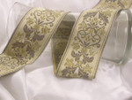 "Jacquard Ribbon 2 3/8"" (60.3mm) Exquisite Floral on Tan *Colors* Priced Per Yard"