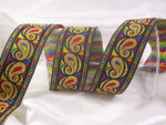 "Jacquard Ribbon 1 9/16"" (39mm) Multi Metallic Paisley Priced Per Yard"