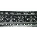 "Jacquard Ribbon 2 1/4"" Black & Metallic Silver Gothic"