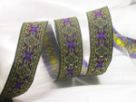 "Jacquard Ribbon 1 1/4"" ( 33mm) Black Gold Red Blue priced Per Yard"