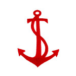 Iron On Patch Applique - Anchor Red