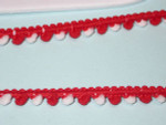 "5/16"" Red & White Mini Pom Pom Puff Trim 5 yards"
