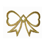 Iron On Patch Applique - Bow Metallic Gold 25 Pack