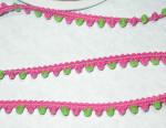 "5/16"" Hot Pink & Lime Green Mini Pom Pom Puff Trim 5 yards"
