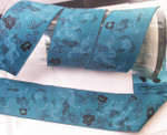 "Jacquard Ribbon 2 1/8"" (54mm)Turquoise & Black Oriental Dragon Per Yard"
