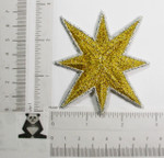 "Iron On Patch Applique -  Star 3 1/2"" (88.9mm) Metallic Gold & Silver"