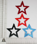 """Iron On Patch Applique - Open  Star 3"""" (75mm) BOLD *Colors*"""