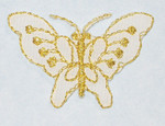 "Iron On Patch Applique - Butterfly 1 5/8"" White & Gold"