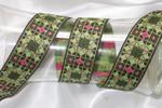 "Jacquard Ribbon 1 1/2"" Geometric Green Gold"
