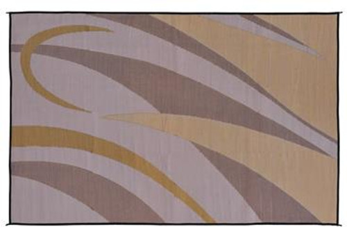 Reversible Patio Mat, Brown/Gold Graphic Design   Size: 8u0027 X 20