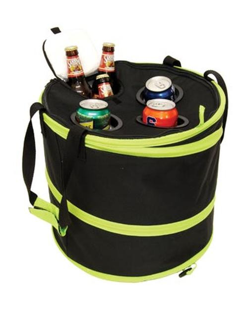 Pop Up Cooler with drink holders and easy access, Green