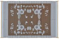 Reversible Patio Mat, Brown Floral - Size: 6' x 9'