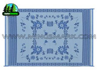 Reversible Patio Mat, Blue Floral - Size: 6' x 9'
