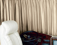 "Custom Motorhome Windshield Drapes, 111"" to 130"" total track length"