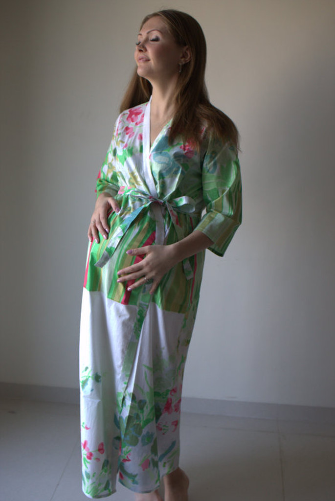 Floral Watecolor Painting Full Length Maternity Robe