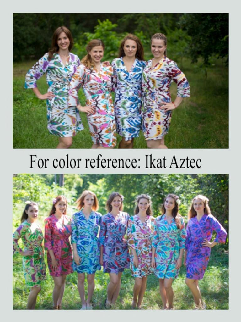 Ikat Aztec Full Length Maternity Robe