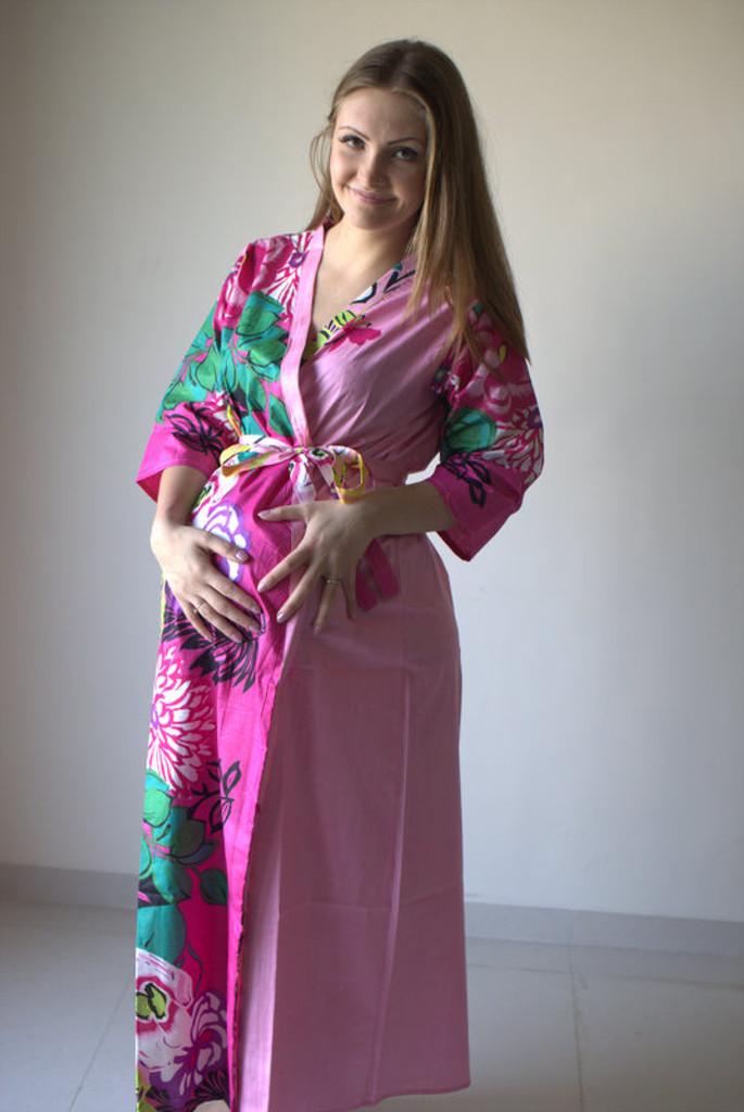 Jungle of Flowers Full Length Maternity Robe
