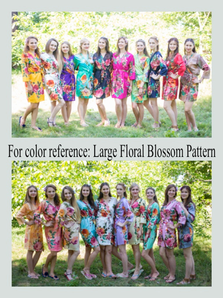 Large Floral Blossom Ankle Length Maternity Robe
