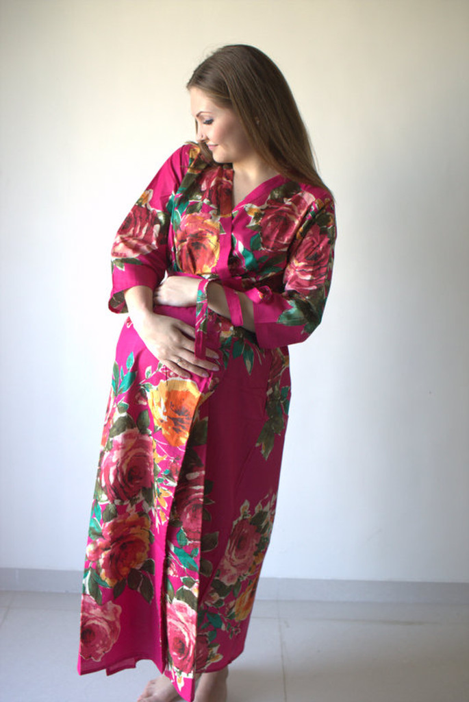 Large Floral Blossom Full Length Maternity Robe