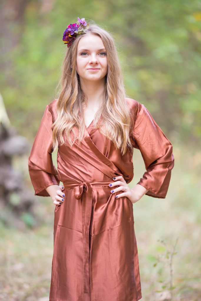 Plain Silk Robes for bridesmaids - Solid Copper Color | Getting Ready Bridal Robes