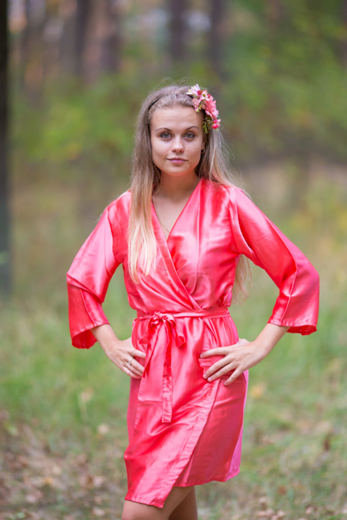 Plain Silk Robes for bridesmaids - Solid Coral Color | Getting Ready Bridal Robes