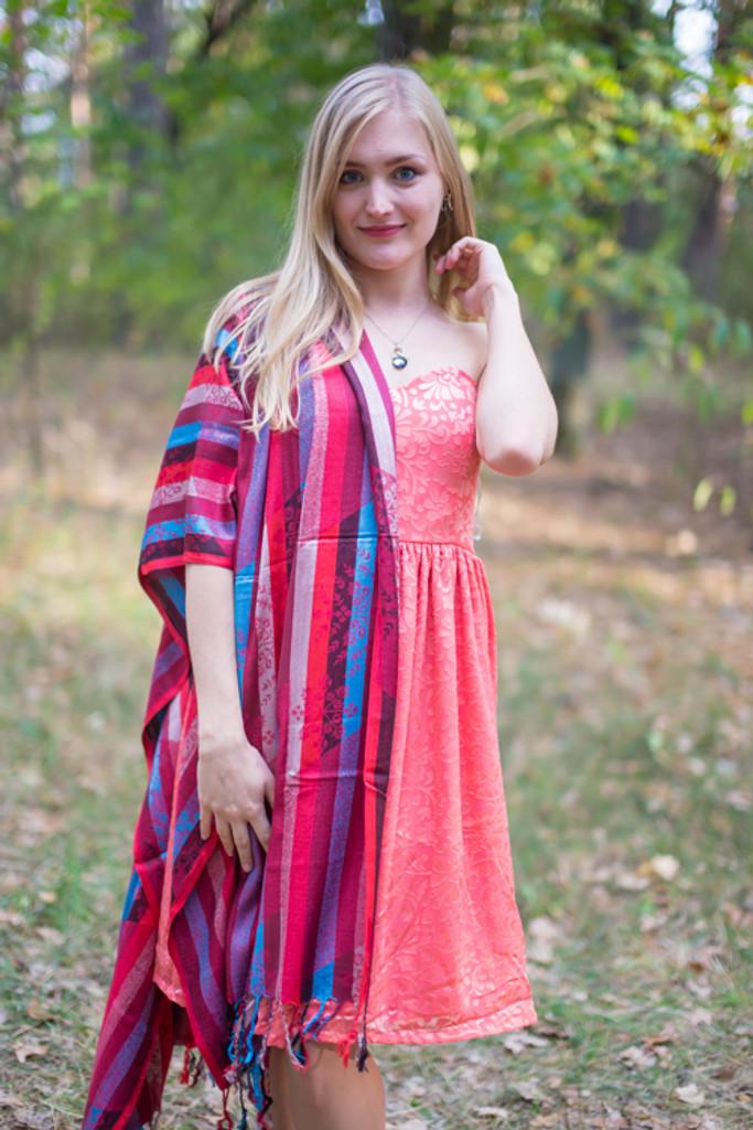 Multicolored Striped Pashmina Warm Shawls