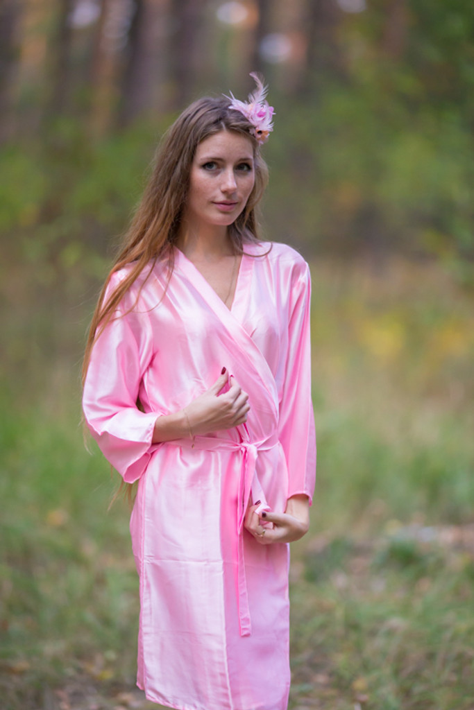 Plain Silk Robes for bridesmaids - Solid Light Pink Color | Getting Ready Bridal Robes