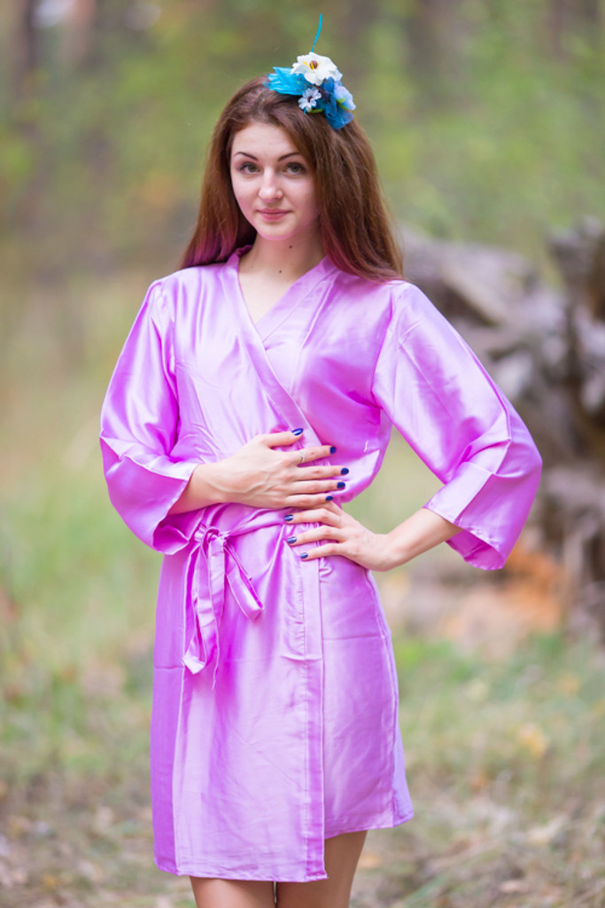 Plain Silk Robes for bridesmaids - Solid Lilac Color | Getting Ready Bridal Robes