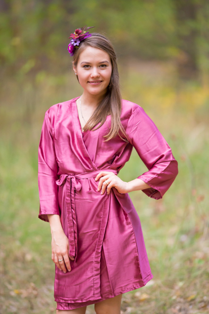 Plain Silk Robes for bridesmaids - Solid Raspberry Color | Getting Ready Bridal Robes
