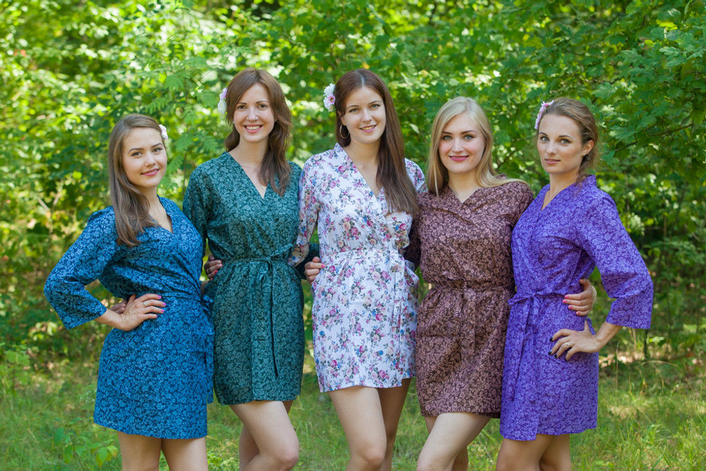 Mismatched Dusty Florals Robes in bright tones