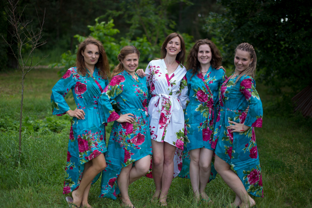 Large Fuchsia Floral Blossom High Low Bridesmaids Robes