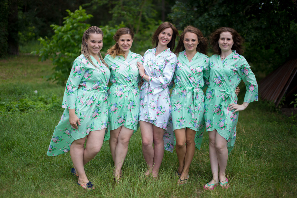 Pink Peonies High Low Bridesmaids Robes