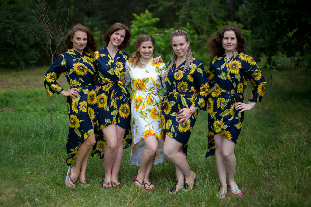 Sunflower Sweet High Low Bridesmaids Robes