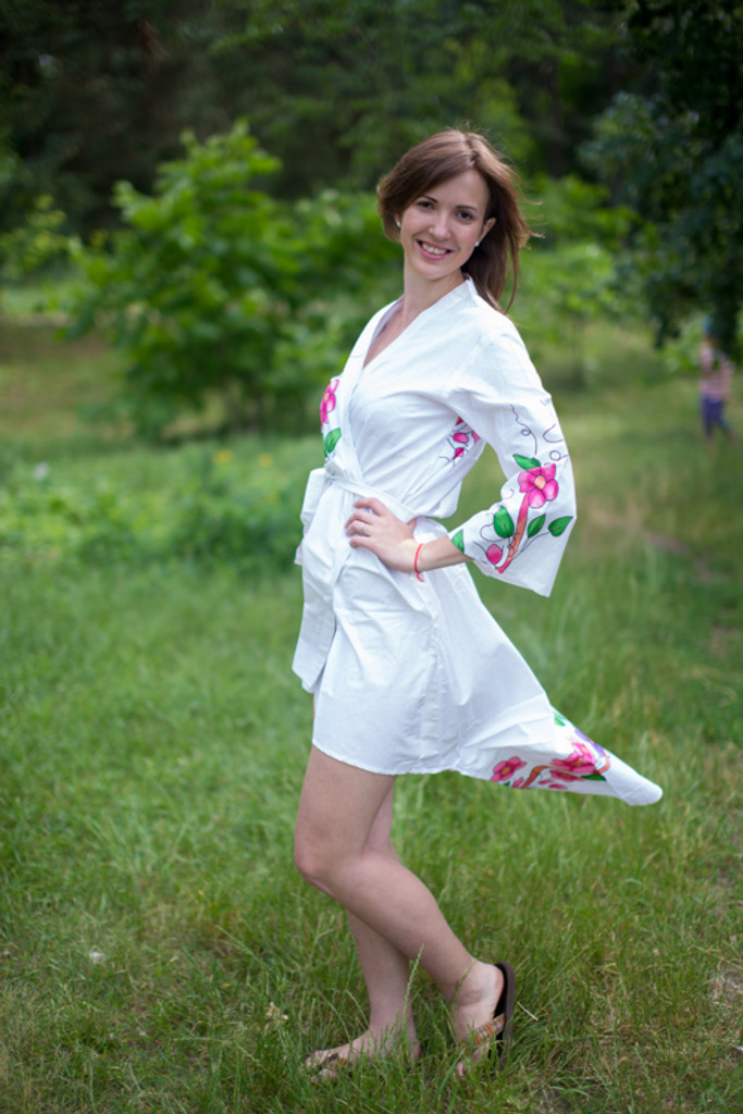 Swirly Floral Vines High Low Bridesmaids Robes