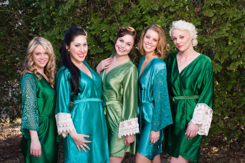 Green and Teal Luxurious Silk Lace Robes