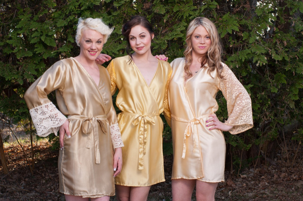 Neutral Colors Luxurious Silk Lace Robes
