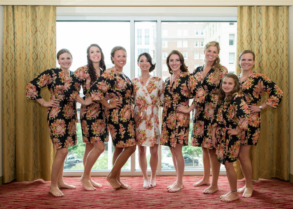 Black Floral Posy Robes for bridesmaids | Getting Ready Bridal Robes