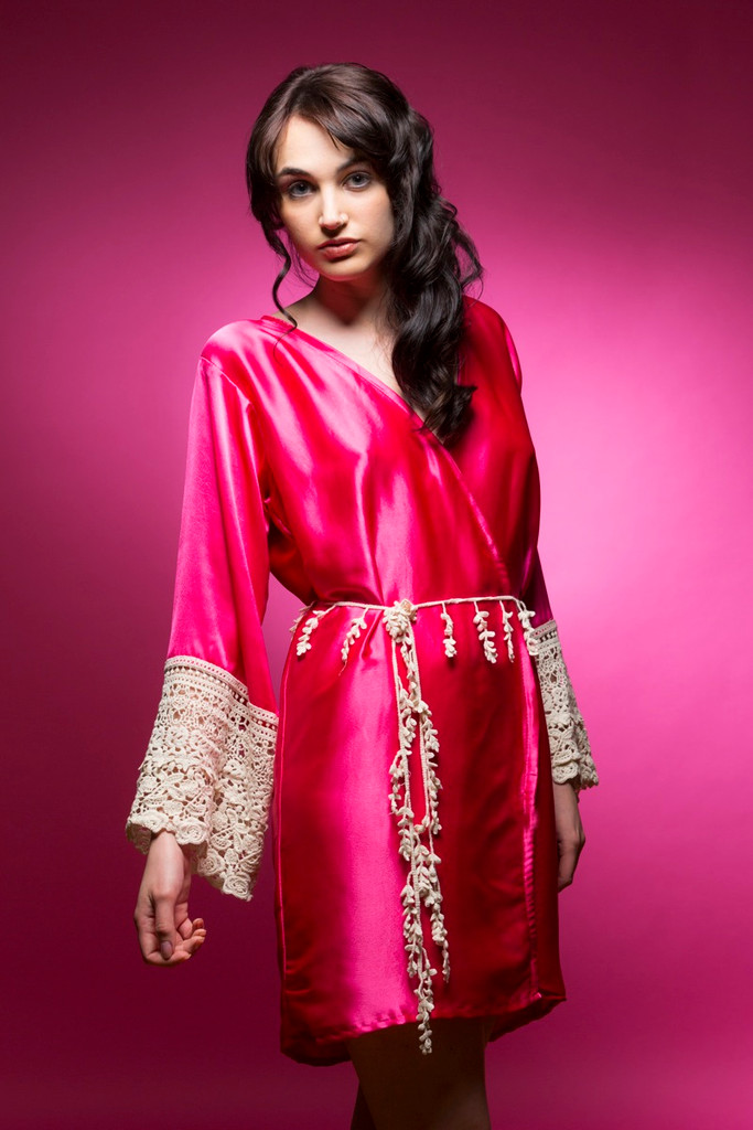 Hot Pink Silk Lace Bridesmaids Robe