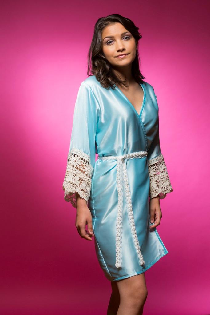 Light Blue Silk Lace Bridesmaids Robe