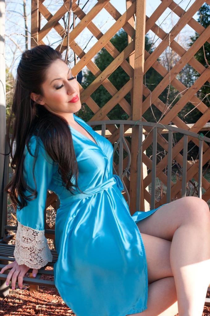 Blue Silk Lace Bridesmaids Robe