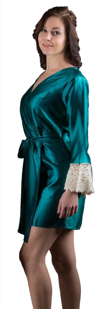 Dark Teal Silk Lace Bridesmaids Robe