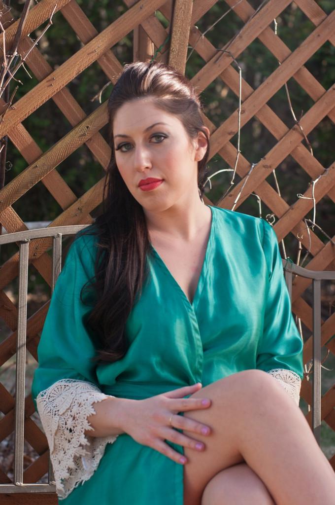 Green Silk Lace Bridesmaids Robe